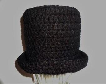 Top Hat in Black Baby Toddler Children Teen Handmade Crochet Elegant Fancy Dress Photo Prop