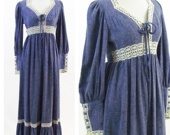 Vintage 1970s Blue Lace Candi Jones Maxi Dress- high Waist Prairie Dress- ladies size Small