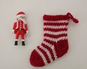Red and white striped mini Christmas stocking - hand knitted