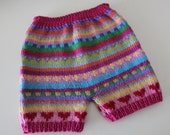 Heart Nappy Pants - Size 6 months - Hand knitted