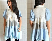 Upcycled Spring Tunic Top White Grey Blue Recycled Bohemian Clothing Size Medium