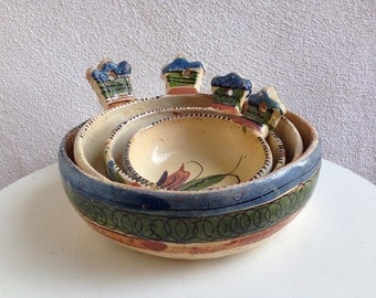 Vintage Boho mid century Mexican nested bowl set clay pottery hand painted