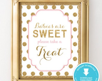 Pink and Gold Baby Shower Food Sign - Sweet Treat table sign - Gold Glitter Baby Shower - Baby Shower Girl - party sign - Instant Download