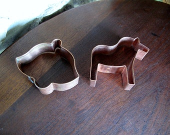 2 Heavy Copper Cookie Cutters, Horse, Bell, Christmas, Flower, Sugar Cookie, All Copper, Riveted, Excellent Condition, Large