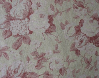 Cotton Upholstery Fabric Shabby Chic Fabric Home Decor Fabric Barn Red Pale Pink Pale Yellow - 1 1/8 Yard - UF1364