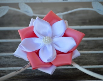 "4"" Satin Ribbon Flowers, Satin Flower, Satin Fabric Flowers, Coral and White Satin Flower, Large Satin Flower, Kanzashi Flowers"