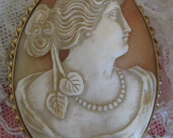 Antique 14k Carved Shell Cameo, EMESCO 14K Jewelry, Estate Jewelry, Gold Cameo, Heirloom Cameo, Edwardian Cameo, Antique New Jersey Jewelry