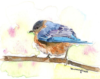 ACEO Limited Edition 2/25-Pastel blue, Bluebird, Art print of an ACEO original watercolor painting by Anna Lee