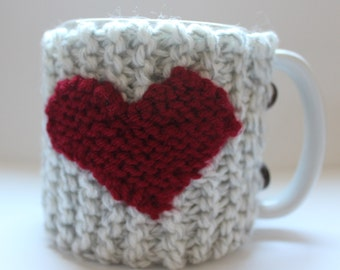 Knitted Coffee Cozy With Heart and Wooden Buttons