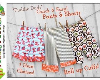Fuddie Duds Boy's Pants Pattern. pdf Sewing Pattern, Superhero Pants, Ankle Biter Beach Shorts, Pajamas, Shorts, Lounge pants, Ruffle Pants.
