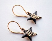 AUGUST SALE 20% Black gold star earrings, dangle earrings with gold foil, free shipping, contemporary jewelry