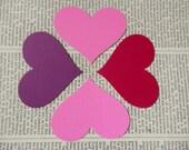 HEART DIE CUTS Set/12 Pink Purple Cerise Acid Free Cardstock