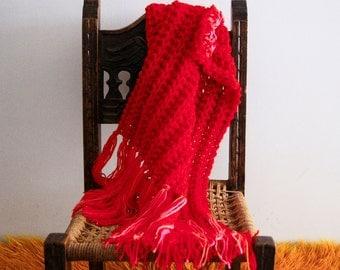 Baby blanket, stroller blanket, travel size blanket, boho baby blanket in red, the Fringe Blanket, vegan friendly