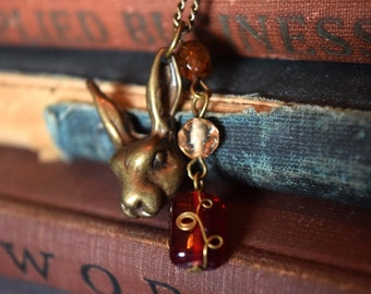 Steampunk Alice in Wonderland, White Rabbit Necklace with Red Beads, Rabbit Pendant, March Hare, Steampunk Necklace, Steampunk Jewelry