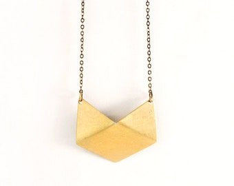 MEDEA Brass Pendant Necklace | Metalwork Jewelry | Gold Pendant | Brass Delicate Chain | Gold Chain Necklace | Geometric Jewelry | Handmade
