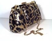 Black Gold Cheetah Prints Evening Clutch Bag, Purse, 8x5x2.5 w/ 28 inches Gold Chain Handle