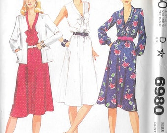 "Vintage 1980s Misses Jacket and Dress McCalls 6980 Sewing Pattern Size 10 Bust 32 1/2"" Waist 25"" Womans Womans Ladies Clothing"