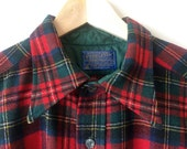 Pendleton Plaid Red Wool Shirt Mens Large Vintage