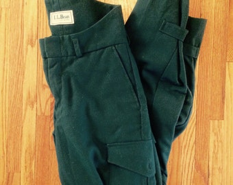 Vintage LL Bean Hunting Pants Green High Back Trousers Rare Mens 30