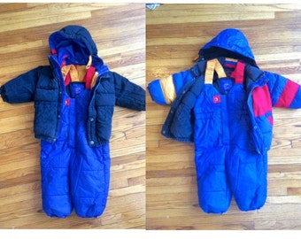 2T 90s Snow Suit Overalls and Coat Multicolored Reversible coat MADOGA