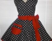 PLUS SIZE Diner Retro Apron Black White Polka Dots Red Accents Circular Flirty Skirt