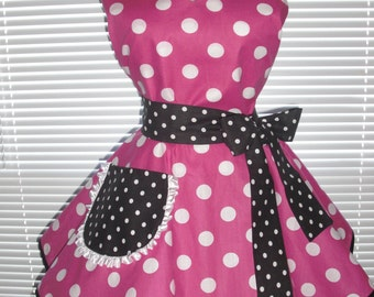 Costume Apron in Hot Pink White Dots with Black and White Dots Pin-up Retro Style Flirty Skirt Sweetheart Neckline