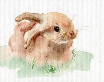 Bunny WATERCOLOR original, Cute little rabbit painting original
