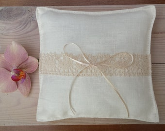 Ivory white linen ring bearer pillow rustic elegant wedding