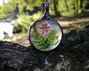 Terrarium Necklace, FERN, HEATHER Necklace, Dry Flower, Boho, Gypsy, Woodland, Statement Necklace, Terrarium Jewelry, gift for her