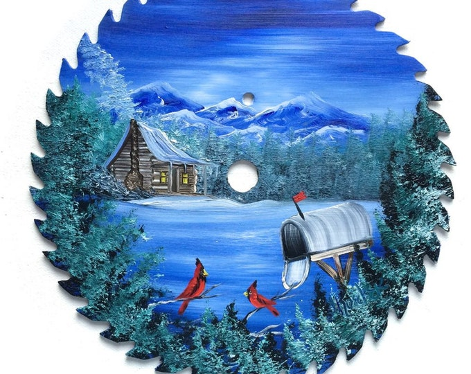 Hand Painted Saw Blade Mountain Winter Scenery with Log Cabin Cardinals Mailbox