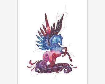 Galaxy Pegasus Mythical Creature Print A5