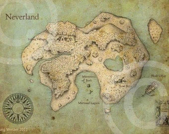 Peter Pan Neverland Map Fine Art Print Poster Nursery (Original Color) 11 x 14