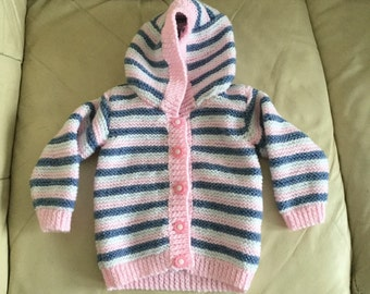3-6 mths Pink/Denim Blue Stripe Baby Hooded Jacket