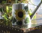 Tin Water can with Sunflowers hand painted