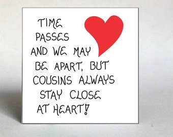 Handmade Magnet Quote -Cousin, Family Reunion, red heart design