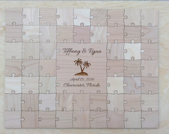80 pcs Beach Wedding Guest Book Puzzle
