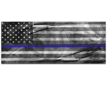 Police Officer Flag 'American Glory Police Tribute' by Eric Waddington - Policemen Art Blue Badge Decor on Metal or Acrylic
