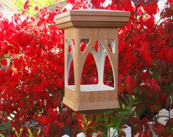 Bird feeder modern Outdoor Birdfeeder PVC decorative woodgrain style- no assemble required hanging Birdfeeder -tray style- Made in the USA