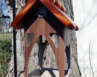 Hanging PVC bird feeder,modern tray feeder,outdoor,suet holder,functional,unique lantern, Handmade in USA, ez clean, ez fill, open viewing