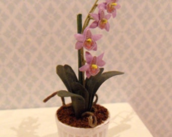 Dollhouse miniature purple orchid