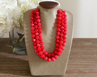 LIMITED EDITION Bright Coral Statement Necklace