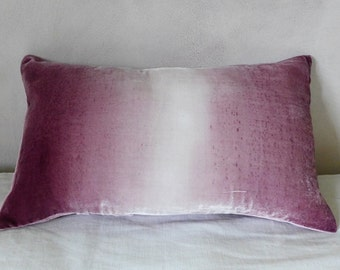 """Velvet pale dusty grape/plum hand-painted pillow cover 30cm x 50cm (12"""" x 20"""") UK, Made to order"""