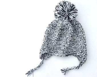 Crochet Pattern: Marled Earflap Hat- Easy Crochet beanie, Sizes Newborn to Adult, multi strand, kid, toddler, teen, all sizes