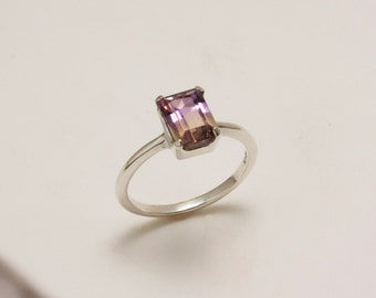 Sterling Silver Faceted Octagon Ametrine Ring
