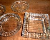 Lot of Retro Cool Crystal Glass Mid Century Ashtray 4 pcs.