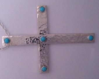 Sterling Silver & Kingman Turquoise Cross