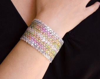 Multi-tone, Beaded Glass Cuff Bracelet