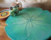 Lazy Susan Aqua Blue, Sand dollar, Turn Table, Kitchen Art, Beach House decor, Hand Made Sand dollar, Centerpiece