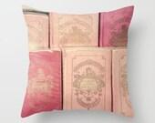 Dorm Decor, Paris pillow, pillow cover, book pillow, pink pillow, coral pillow, blush pink pillows, french pillow, France, Paris decor