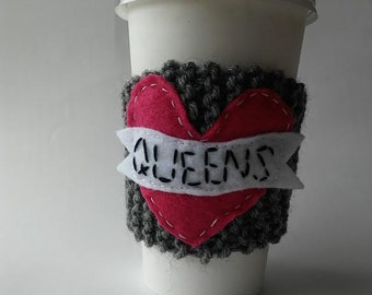 I heart Queens knitted Coffee Cup Cozy